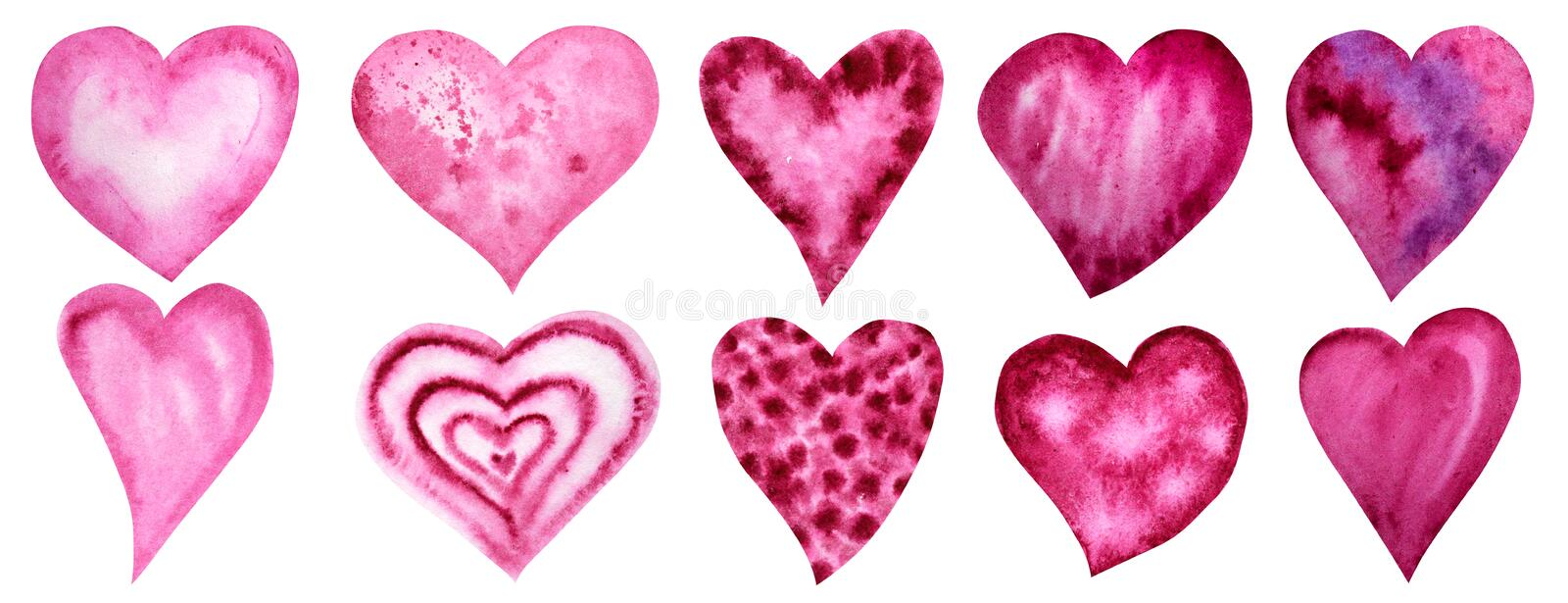 Set of watercolor hearts icon collection. Hand drawn various red pink hearts isolated on white background. Wedding or. Big Set of watercolor hearts icon royalty free stock photography