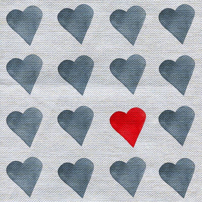 Set of watercolor hearts on linen fabric texture vector illustration