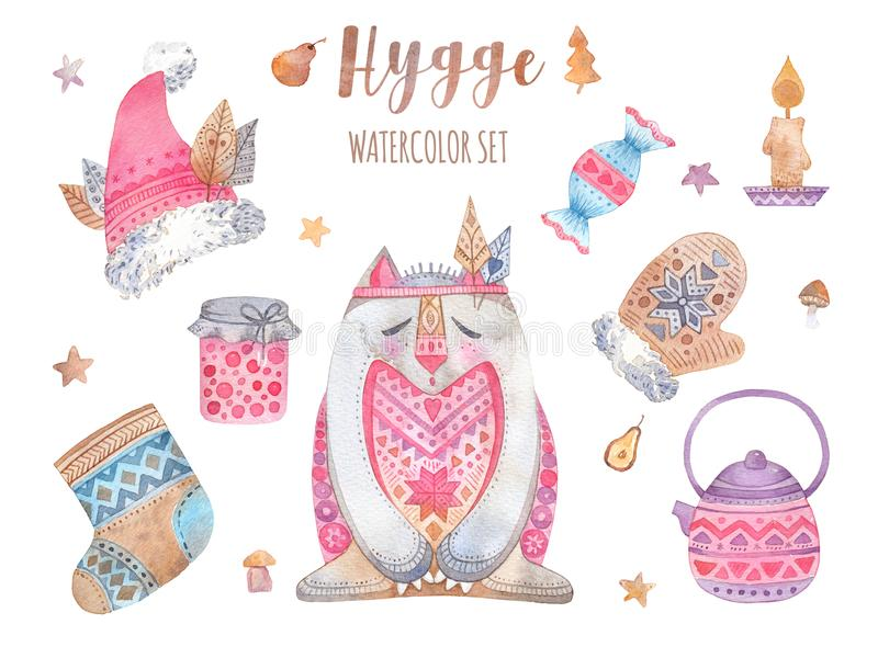 Set of watercolor illustrations with Hygge concept. vector illustration