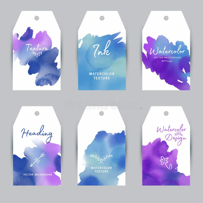 Set watercolor labels design elements, vintage frame handmade aquarelle. Set watercolor labels design elements, vintage frame handmade aquarelle stock illustration
