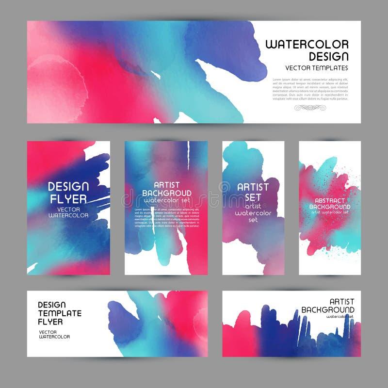 Set watercolor labels design elements, vintage frame handmade aquarelle. Banners and business card. Set watercolor labels design elements, vintage frame vector illustration