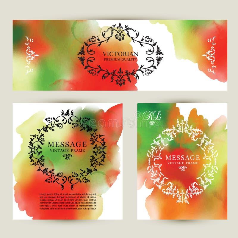 Set watercolor labels design elements, vintage frame handmade aquarelle. Banners and business card. Set watercolor labels design elements, vintage frame royalty free illustration