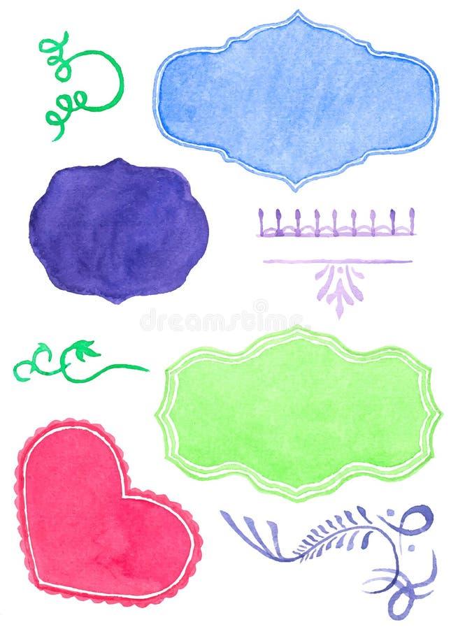 Set watercolor labels design elements and. Set watercolor labels design elements, vintage frame handmade aquarelle. Vector illustration stock illustration