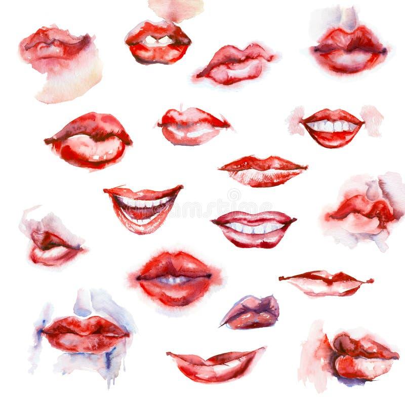 Set of watercolor lips. vector illustration