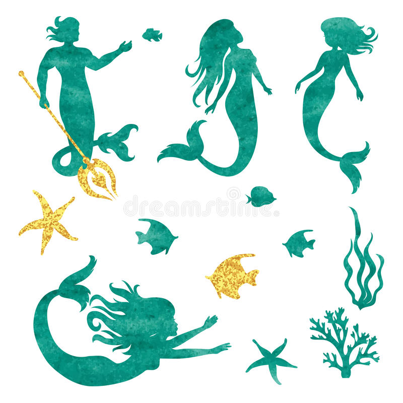 Set of watercolor mermaid silhouettes isolated on white. Vector illustration vector illustration