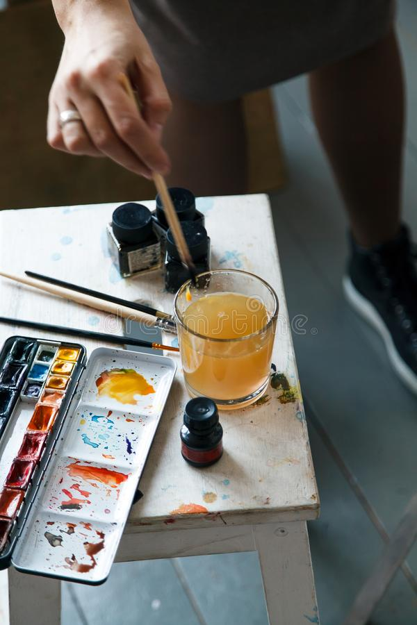 Set of watercolor paints often used by professional artist stock photos