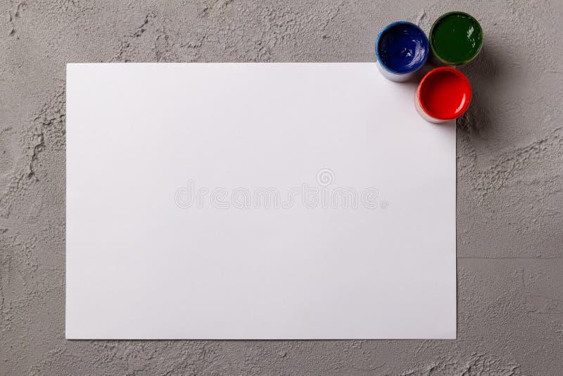 Set of watercolor paints stock images