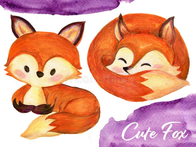 Set of watercolor red fluffy foxes in motion on white. Set of watercolor red fluffy lovely baby foxes in motion on white Hand drawn illustration stock illustration