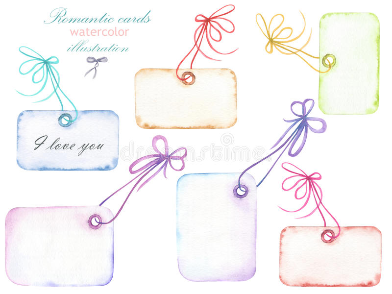 Set of watercolor romantic paper vintage cards with the bows, hand drawn isolated on a white background vector illustration