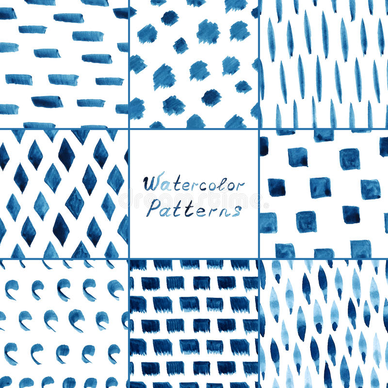 Set of watercolor simple patterns. royalty free illustration