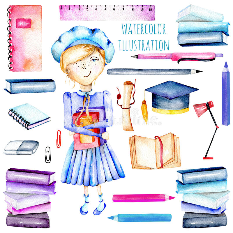 Set of watercolor smart schoolgirl, books and stationery objects. Hand painted isolated on a white background royalty free illustration