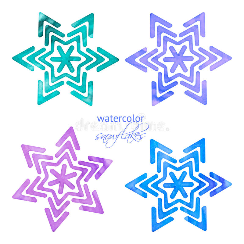 Set of watercolor snowflakes royalty free illustration