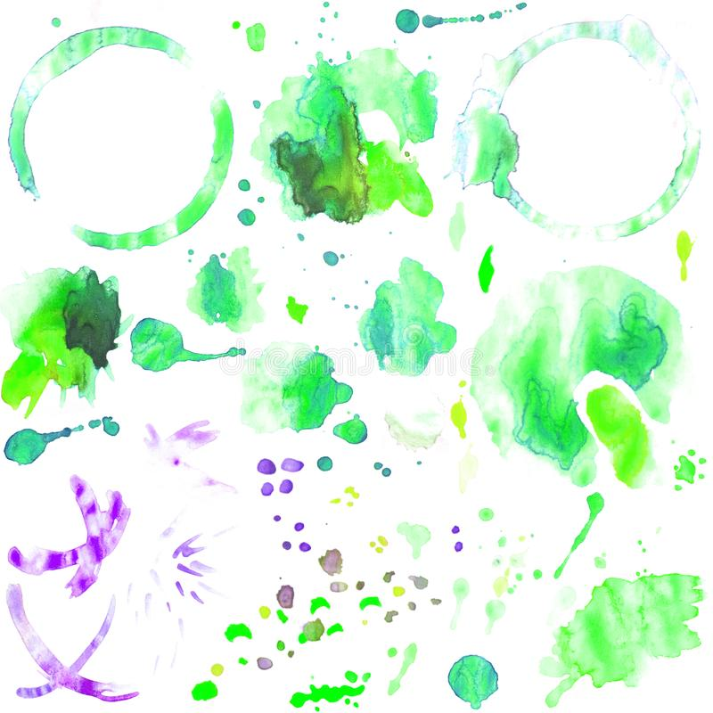 Set of watercolor splashes and stains of coffee cup. Set of green watercolor isolated image of circles of coffee and from tea closeup with blot and spray, round stock photos