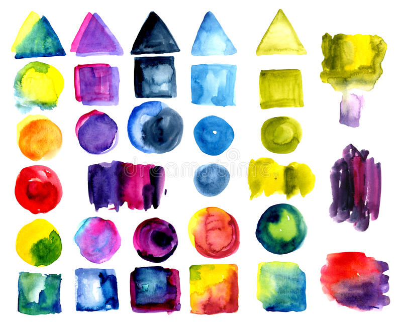 Set of watercolor stains of polychrome, color. vector illustration