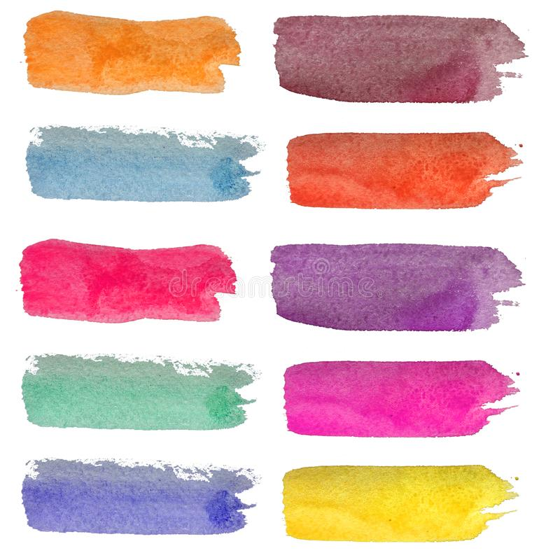 Set of watercolor stripes. Spots on a white background. Watercolor texture. Blue, turquoise, pink, burgundy. stock illustration