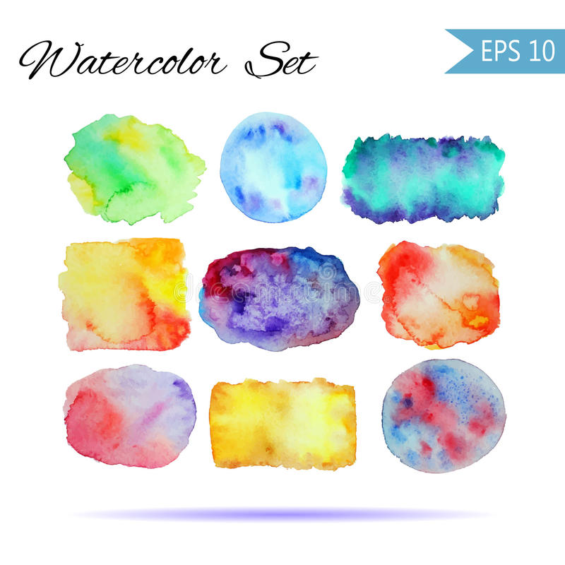 Set Watercolor-style vector spot illustration. Colorful element for design or print . Rainbow background for text or word on white. Grouped and isolated royalty free illustration
