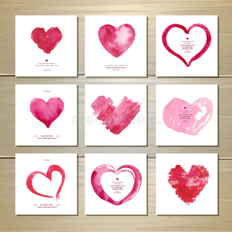 Set of watercolor valentine love hearts royalty free illustration
