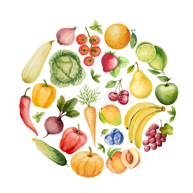 Set of watercolor vegetables and fruits. royalty free illustration