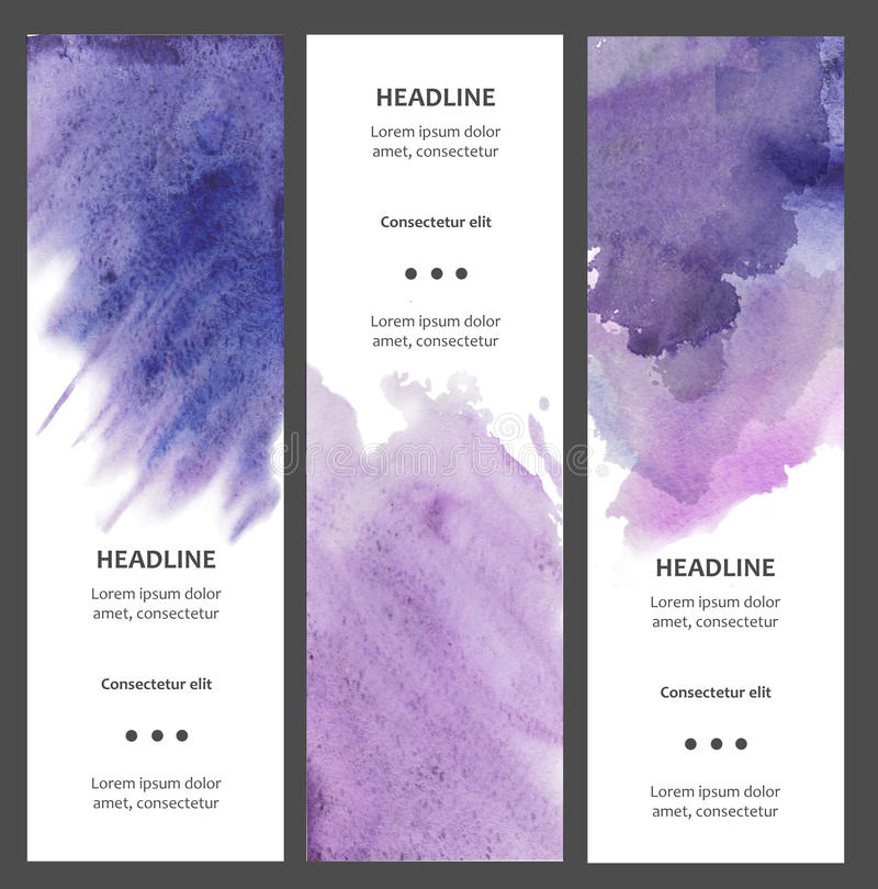 Set of watercolor vertical banners with blot, drop, isolated on white background. Sample text. Hand drawn cards, tickets royalty free illustration
