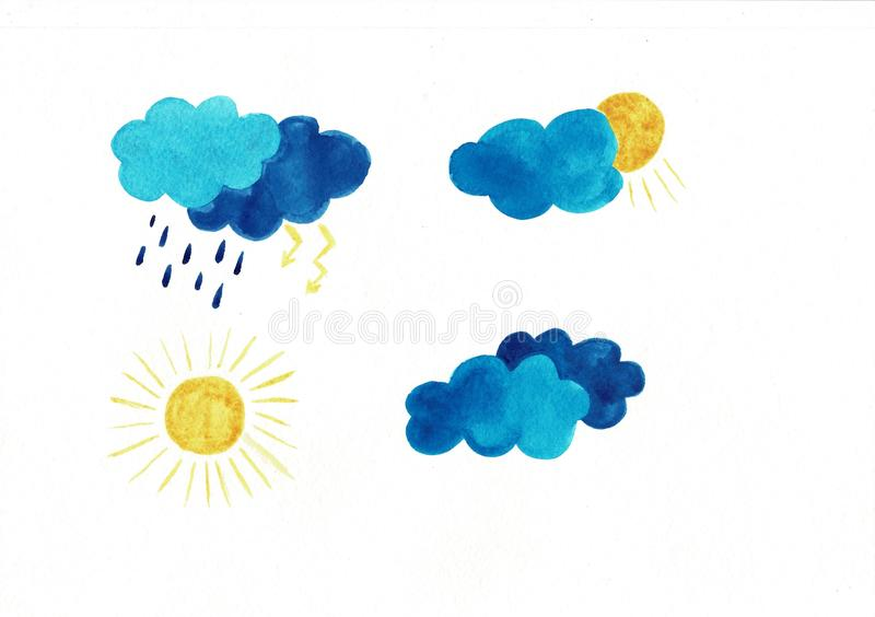 Set of watercolor weather icons. Sun clouds rain drops snowflakes storm. Perfect for sticker or web design isolated on stock illustration