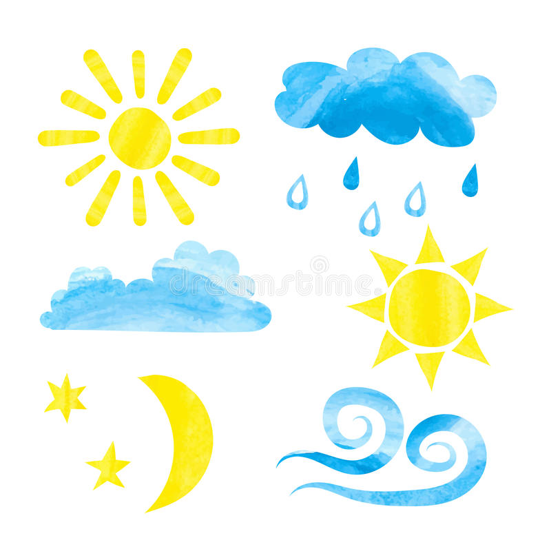 Set of watercolor weather icons. Watercolor sun, clouds stock illustration