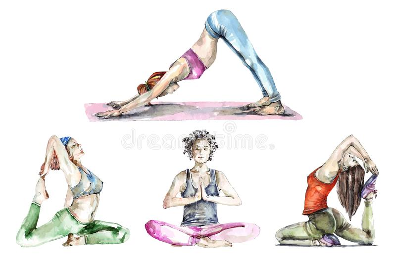 Set of watercolor yoga poses and trace into vector stock illustration