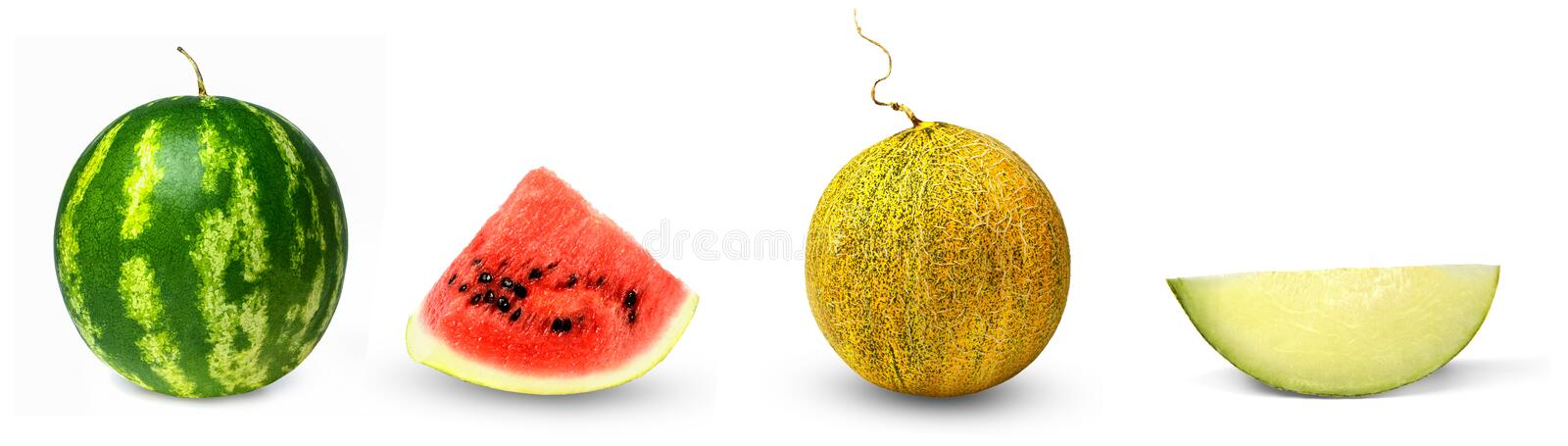 Set of watermelon and melon. Whole and lobule. Isolation on a white background. Bright saturated colors and good texture. Side view royalty free stock photos
