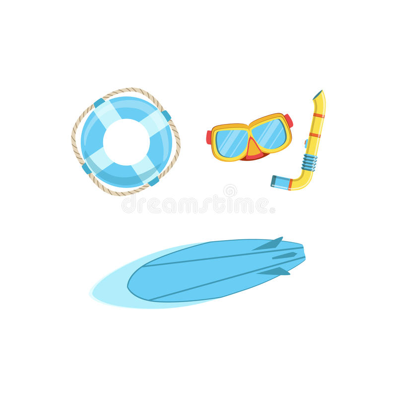 Set Of Watersports Euipment With Mask, Snorkel, Surfboard And Buoy stock illustration