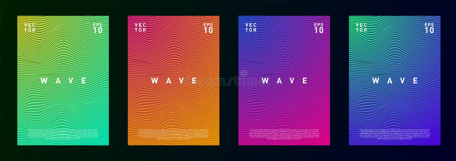 Set of wave lines gradient fluid background design for advertising, journal, flyer, poster, brochure, covers in trendy royalty free illustration