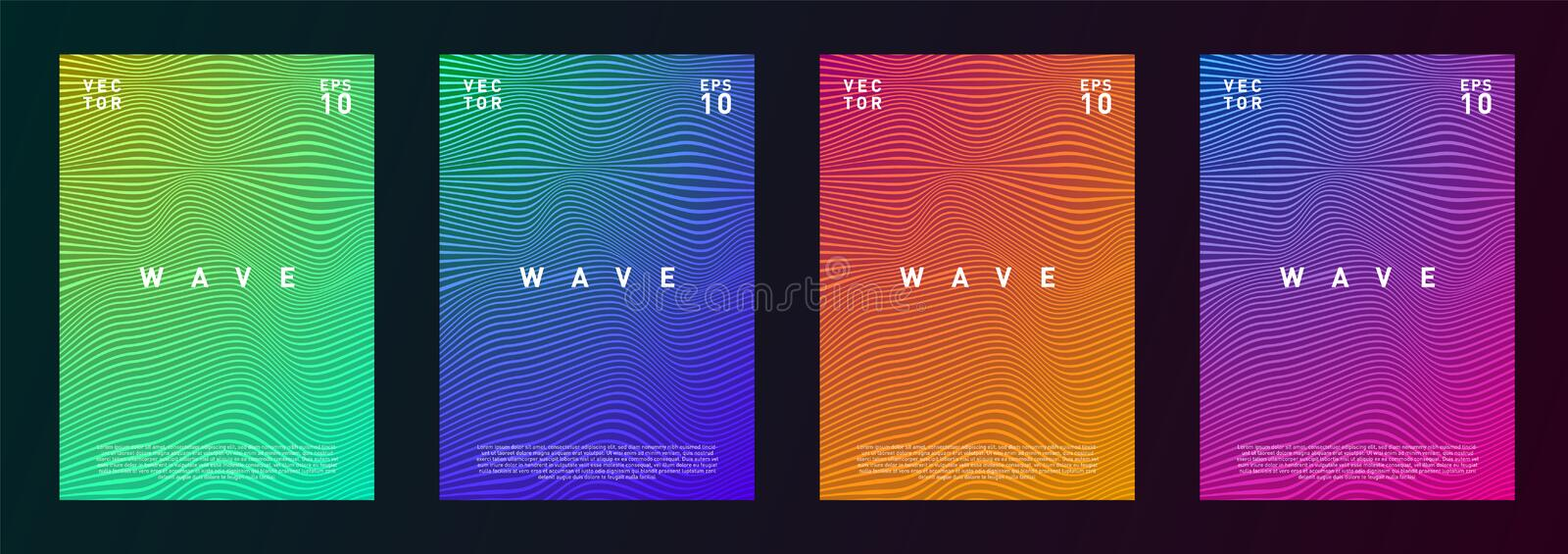 Set of wave lines gradient texture fluid background design for advertising, journal, flyer, poster, brochure, covers in stock illustration