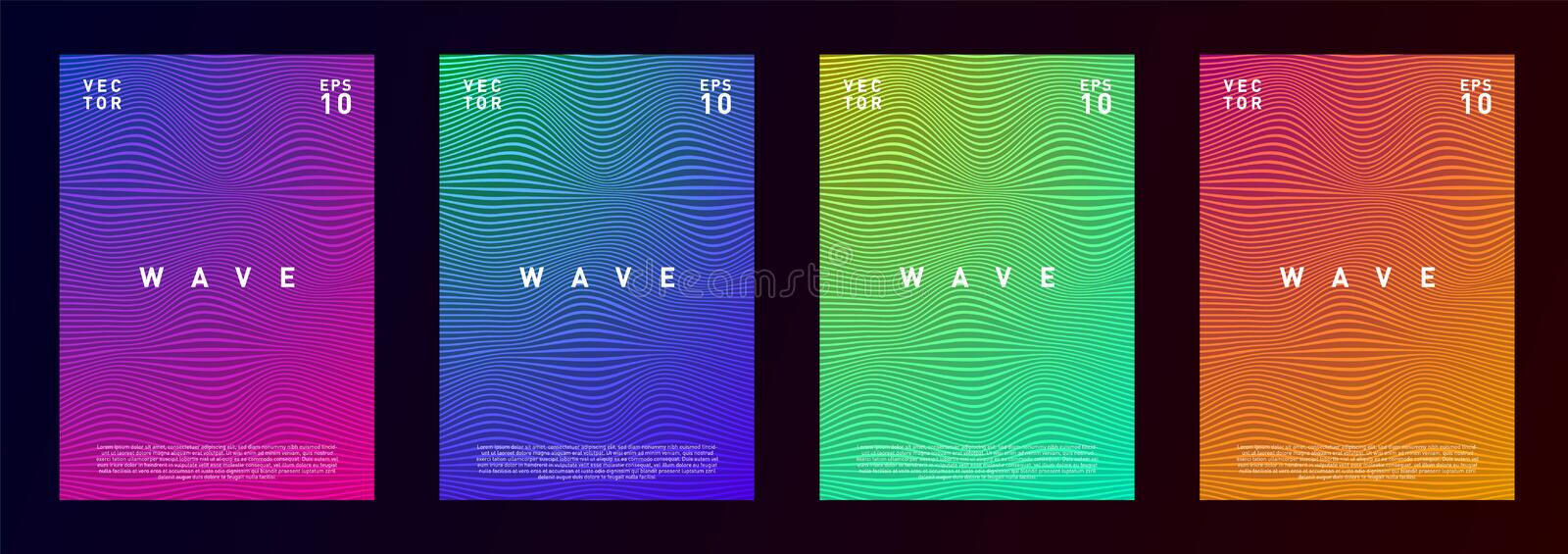 Set of wave lines gradient texture fluid background design for advertising, journal, flyer, poster, brochure, covers in vector illustration