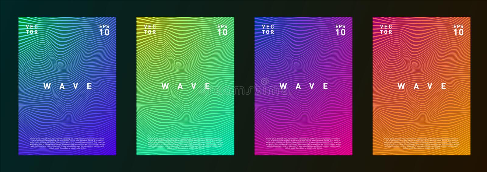 Set of wave lines gradient texture fluid background design for journal, flyer, poster, brochure, covers in trendy pink royalty free illustration