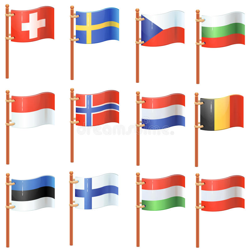 Download Set of waving flags stock vector. Image of pointer, banner - 34090981