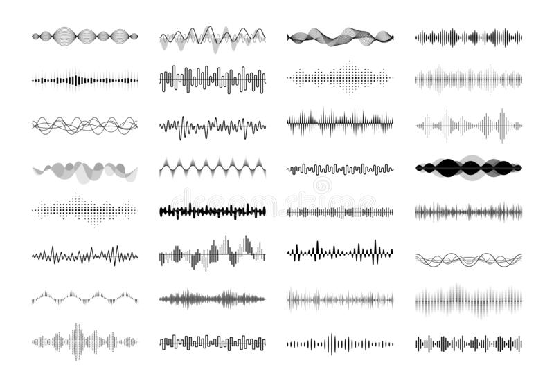 Set of waving, vibration and pulsing lines. Graphic design elements for financial monitoring, medical equipment, music. App. Isolated vector illustration royalty free illustration