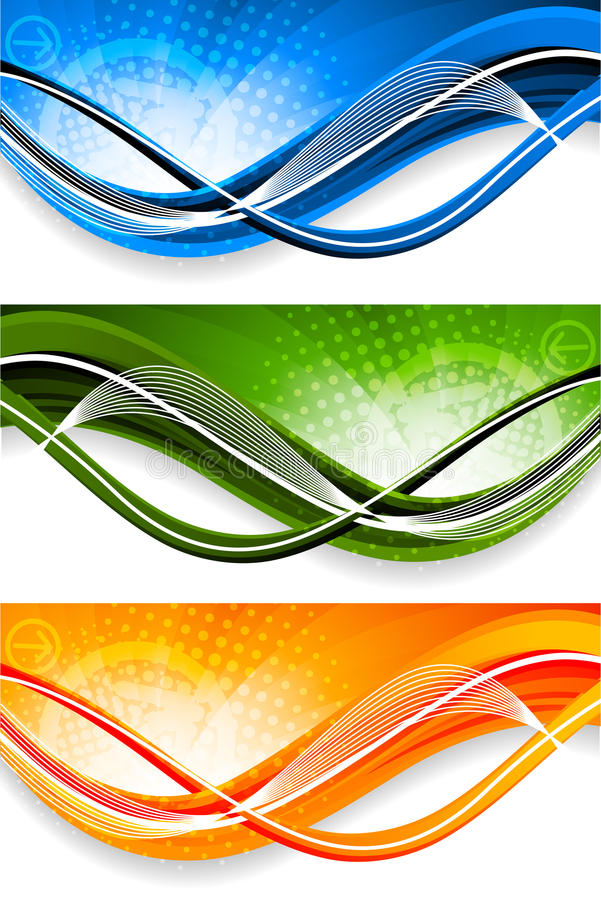 Set Of Wavy Banners Stock Photography