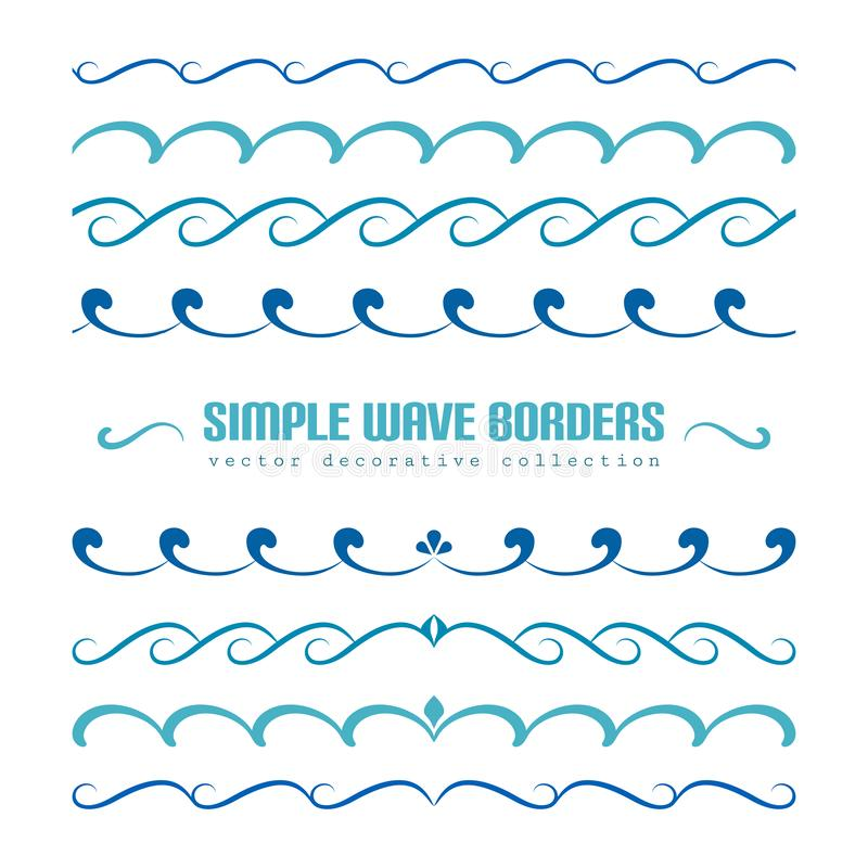 Set of wavy border ornaments and flourishes. Blue waves, set of wavy borders, divider lines with curly pattern, simple nautical ornaments and flourish vignettes stock illustration