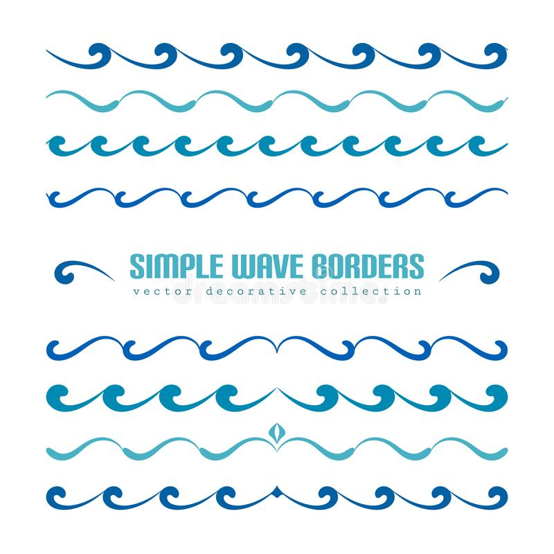 Set of wavy border ornaments and flourishes. Set of wavy borders, divider lines with curly pattern, simple nautical ornaments and flourish vignettes, swirly stock illustration
