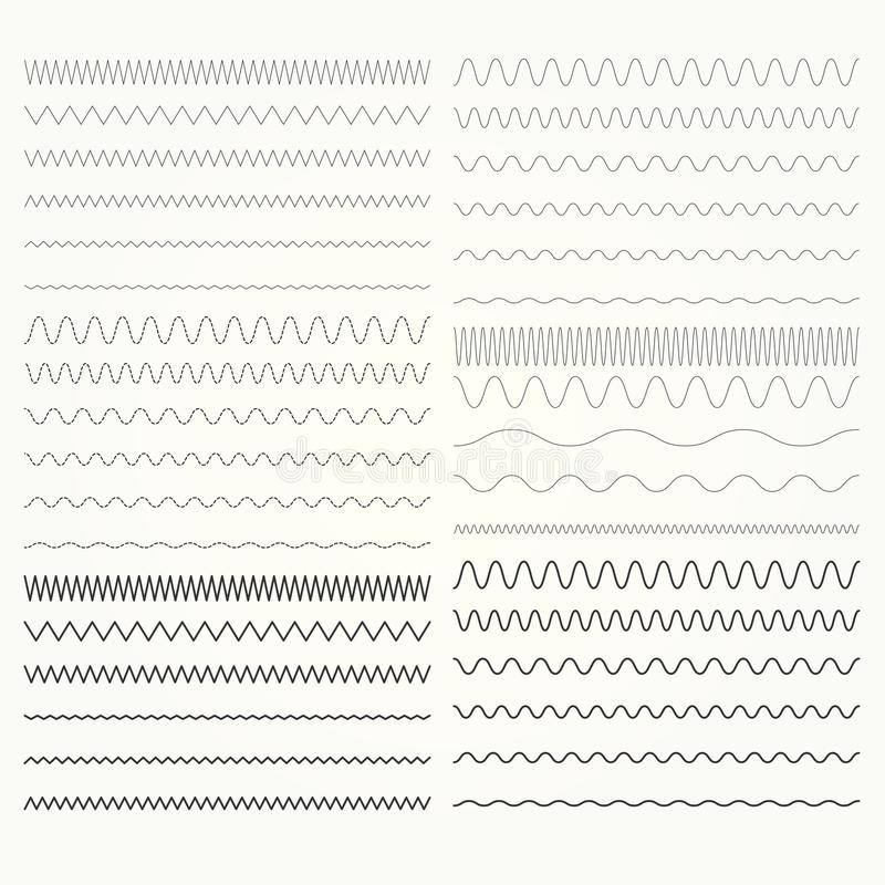 Set of wavy lines - zigzag borders collection. Set of wavy lines - zigzag and squiggly borders collection royalty free illustration