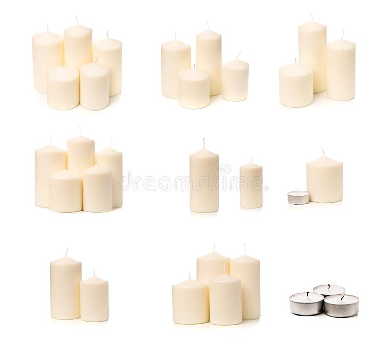 Set of wax candles isolated on white royalty free stock photography