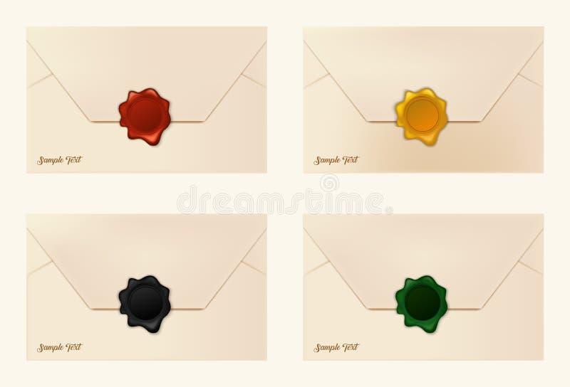 Set of wax sealed envelopes stock illustration