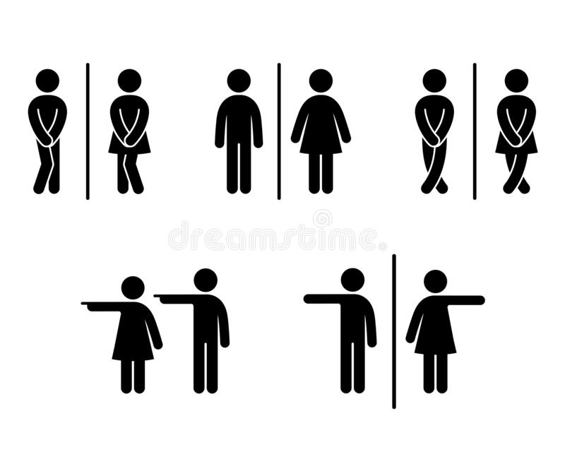 Set of WC sign Icon Vector Illustration on the white background. Vector man. & woman icons. Funny toilet symbol royalty free illustration