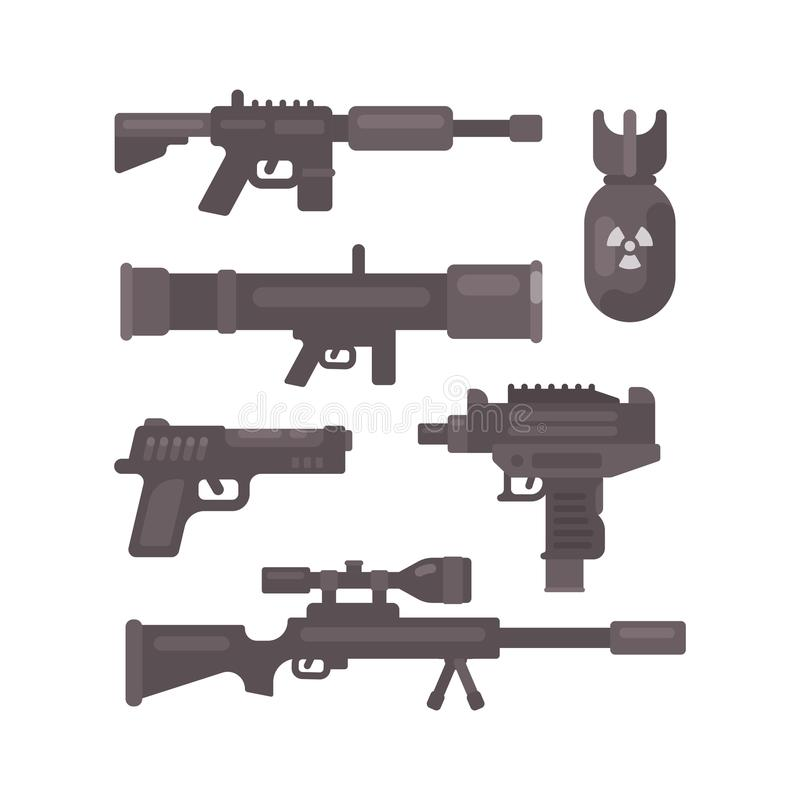 Set of weapon flat icons. Military ammunition collection stock illustration