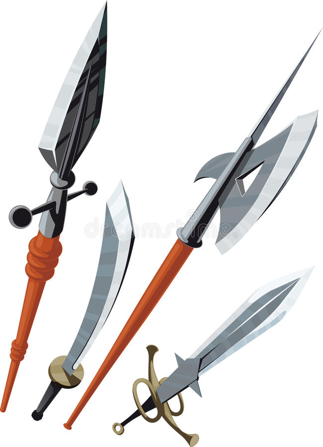 Download Set Of Weapons Blade Angled Forward Stock Vector - Illustration of isolated, mace: 34272478