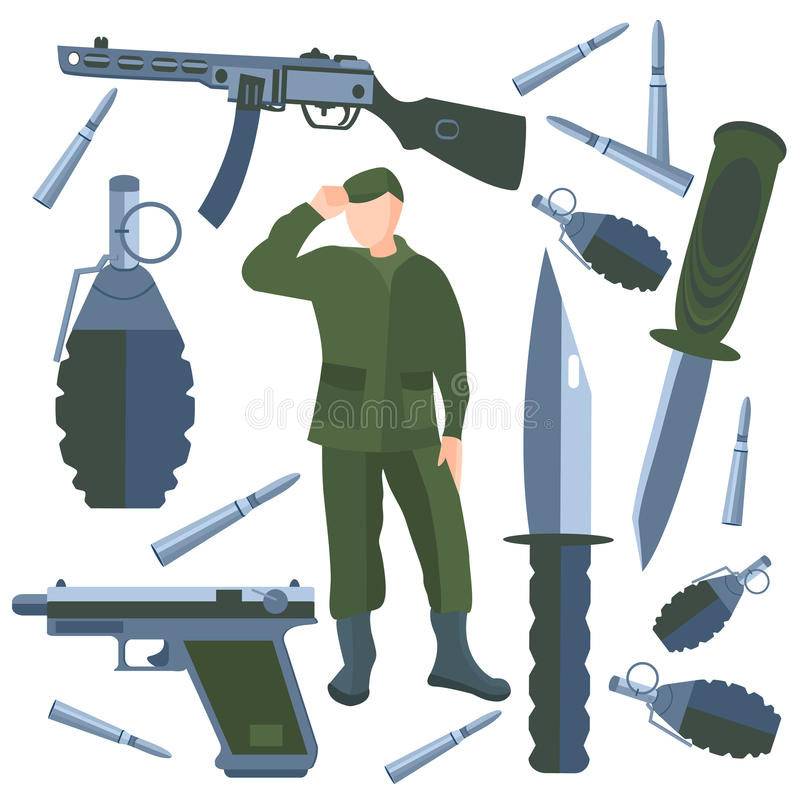 Free Set Weapons, Soldier Weapon, Knife Royalty Free Stock Images - 56272709