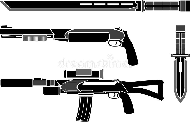 Set of weapons of special forces stock illustration