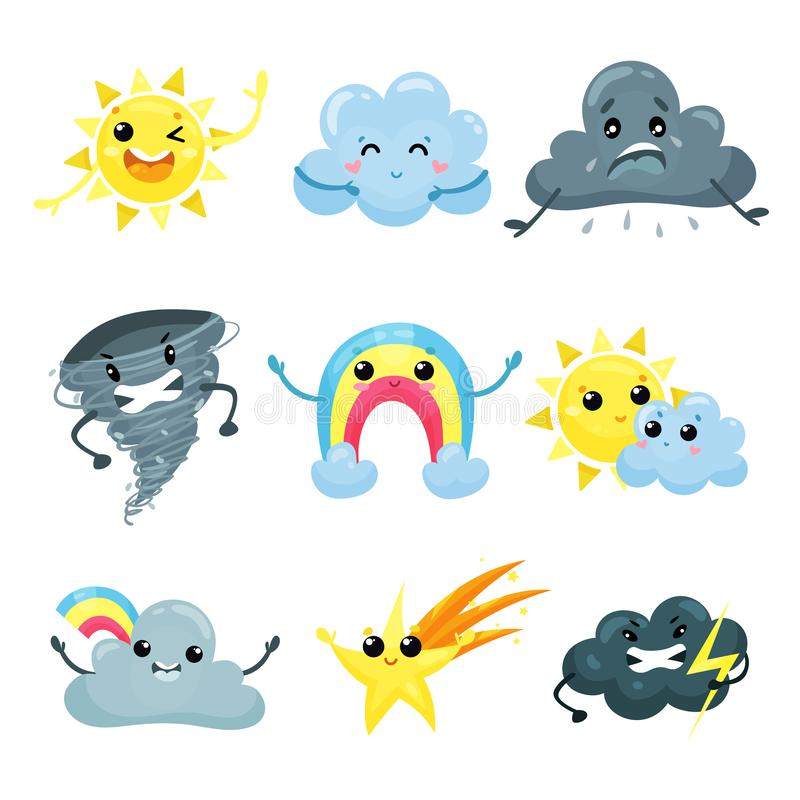 Set of weather forecast icons with funny faces. Cartoon sun, cute rainbow, falling star, angry tornado, sad, happy and. Set of weather forecast icons with funny stock illustration