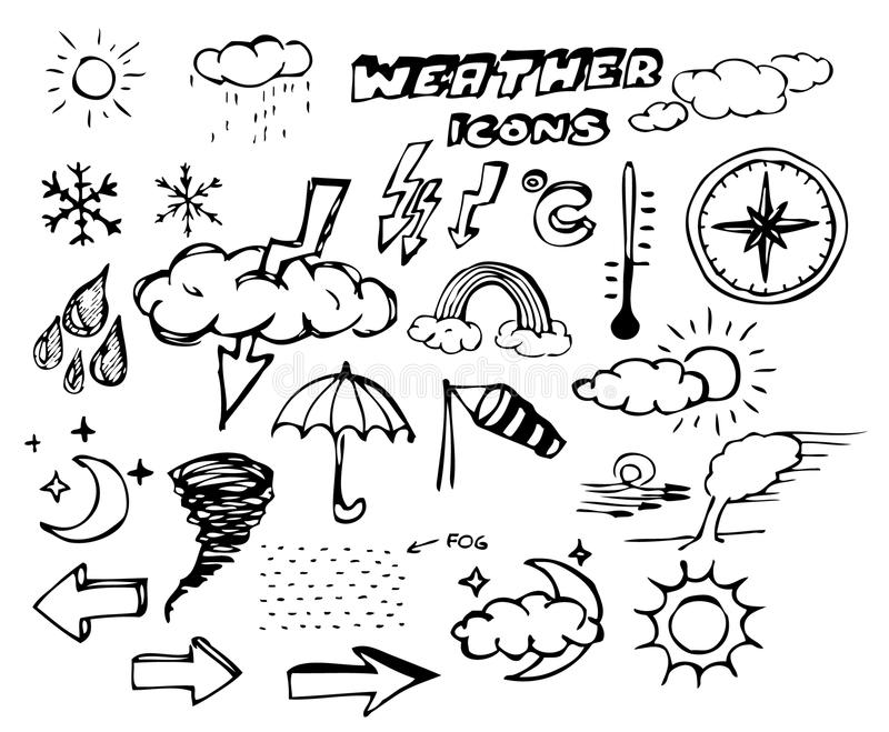 Download Set Of Weather Hand Drawing Icons Stock Image - Image: 12891691