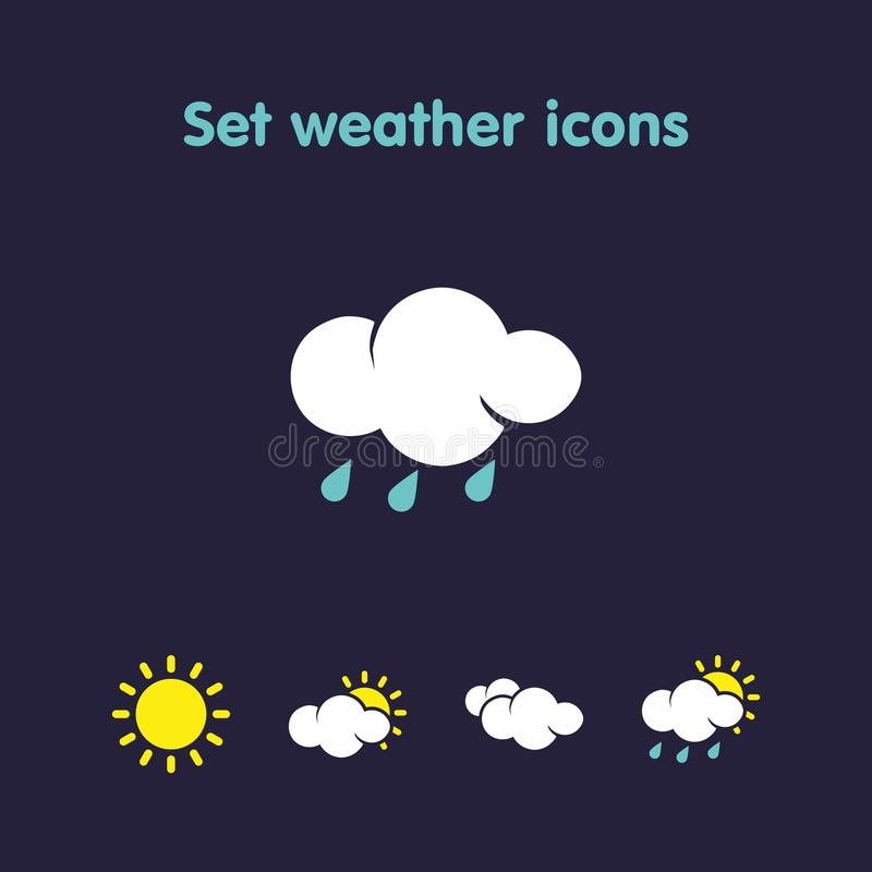 Set weather icons. Beautiful weather icons in a variety of species royalty free illustration