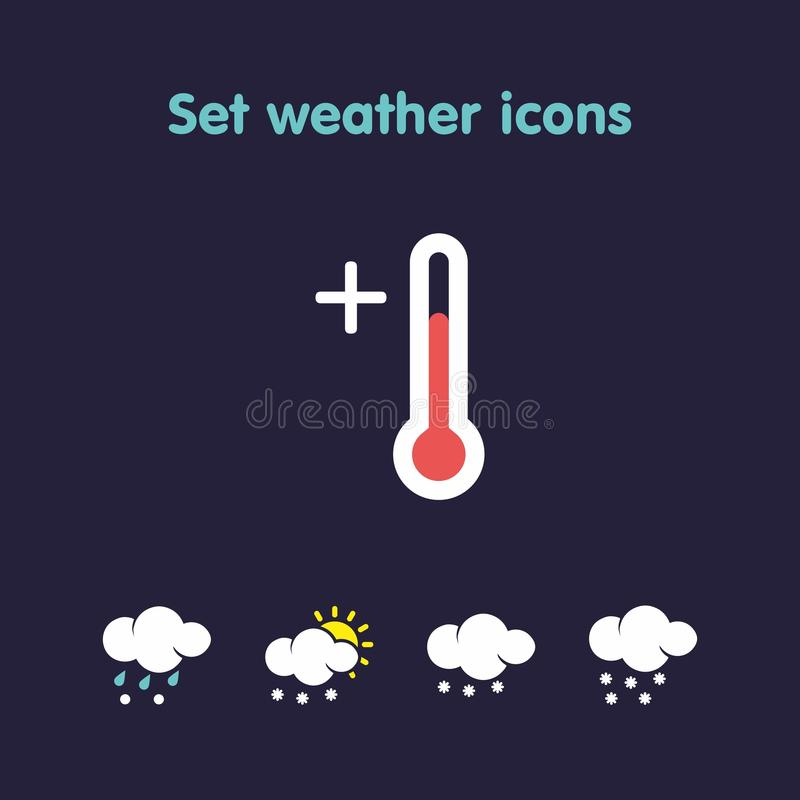 Set weather icons. Beautiful weather icons in a variety of species stock illustration