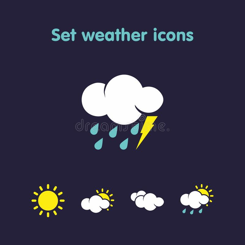Set weather icons. Beautiful weather icons in a variety of species vector illustration